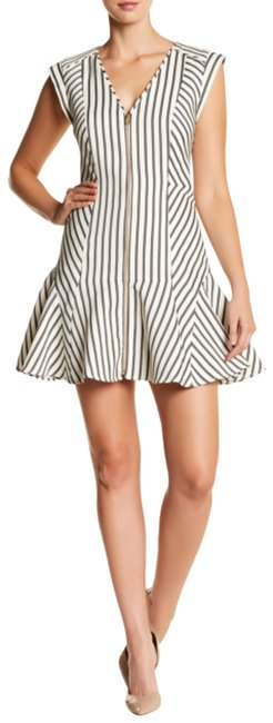 Item - White/ Khaki Stripe Pop Fit and Flare Zip Up Short Casual Dress Size 0 (XS)