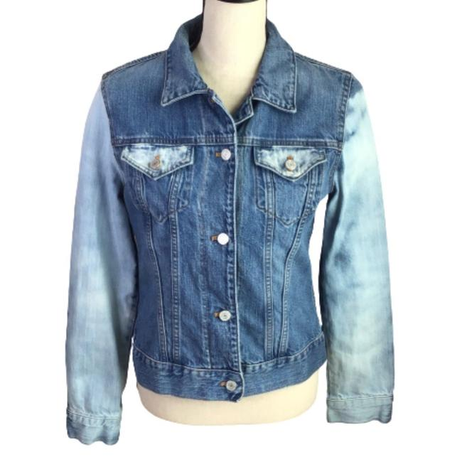 Item - Blue & White Upcycled Hand Bleached Fitted Jean Jacket Size 8 (M)