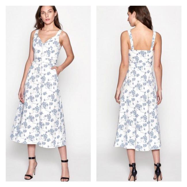 Item - White & Blue Olesia Floral Orint A-line Mid-length Night Out Dress Size 4 (S)