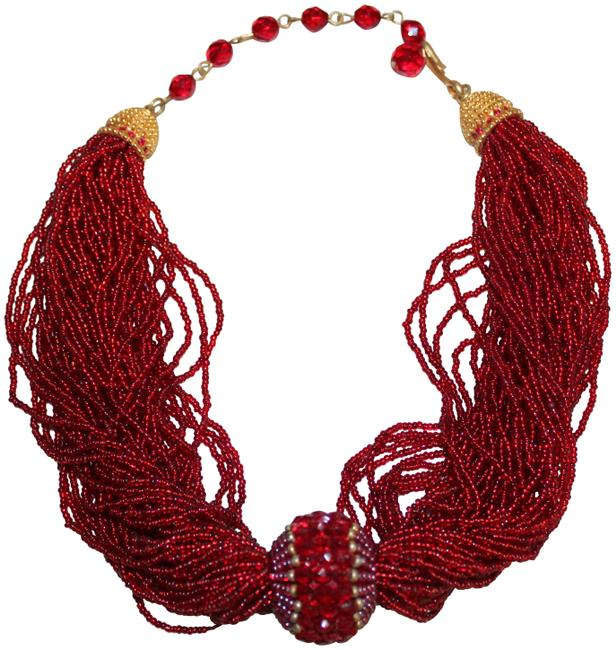 Item - Red Gold Vintage Beaded Necklace