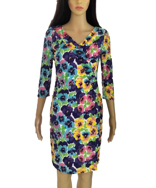 Item - Multi Color 1990's Gianni Signed Floral Short Casual Dress Size 4 (S)