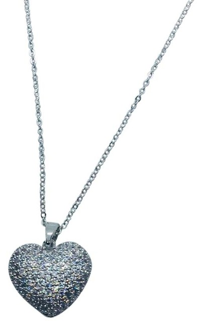 Item - Yellow Gold Rose Gold and White Gold 18k Crystal Heart Pendant Necklace