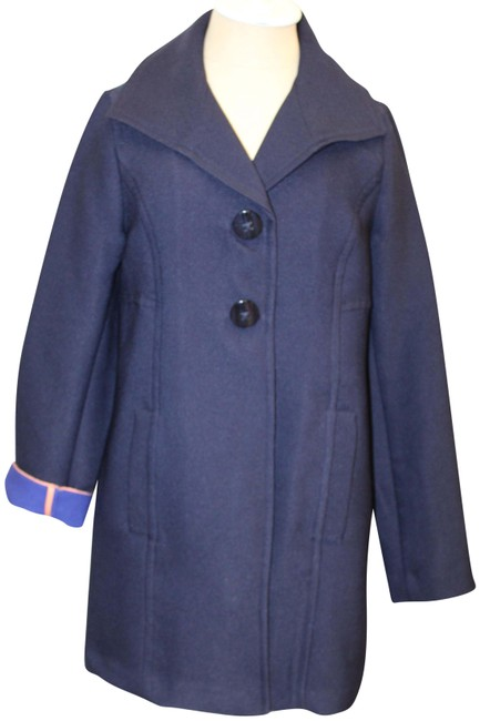 Item - Blue Navy Button Front Overcoat Jacket Coat Size 6 (S)