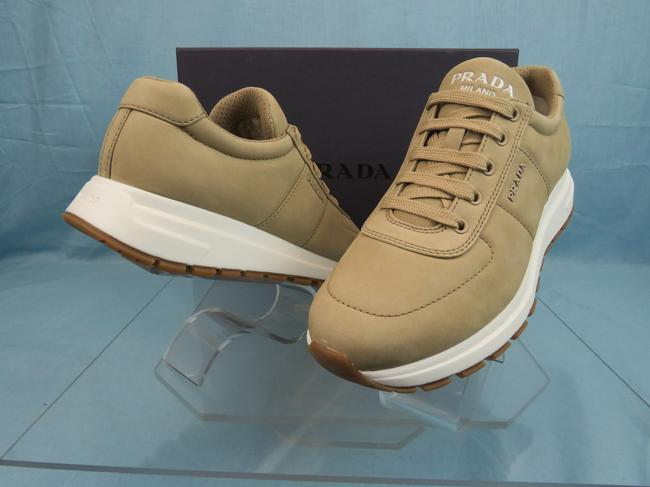 Item - Beige 4e3476 Suede Logo Stitched Lace Up Low Top Sneakers 7.5 Us 8.5 Shoes