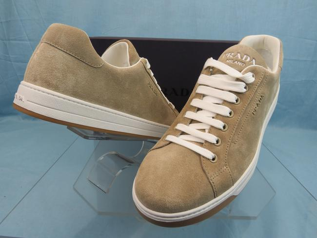 Item - Beige 4e3507 Suede Lace Up Logo Low Top Sneakers 9.5 Us 10.5 Shoes