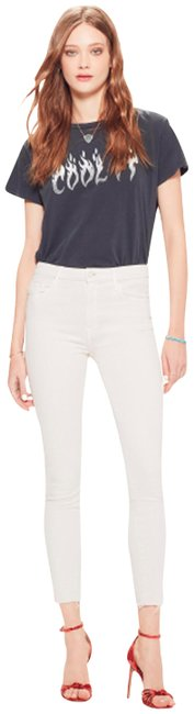Item - Cream Distressed Hardware High Rise Ankle Leg Style No. 1411-381 Skinny Jeans Size 33 (10, M)