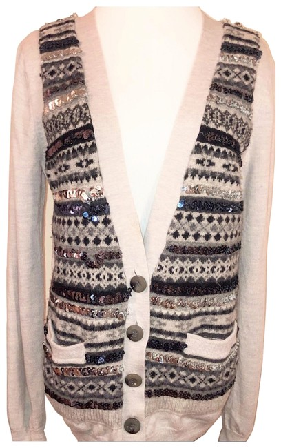 Item - Gray Tan Sequin Long Sleeve Sweater Cardigan Size 10 (M)