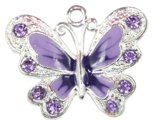 Silver Plated Enamel Crystal Butterfly Charm pendant with purple cord set