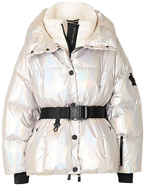Item - Silver Grenoble Ollignan Hooded Belted Quilted Iridescent Shell Down Jacket Coat Size 0 (XS)