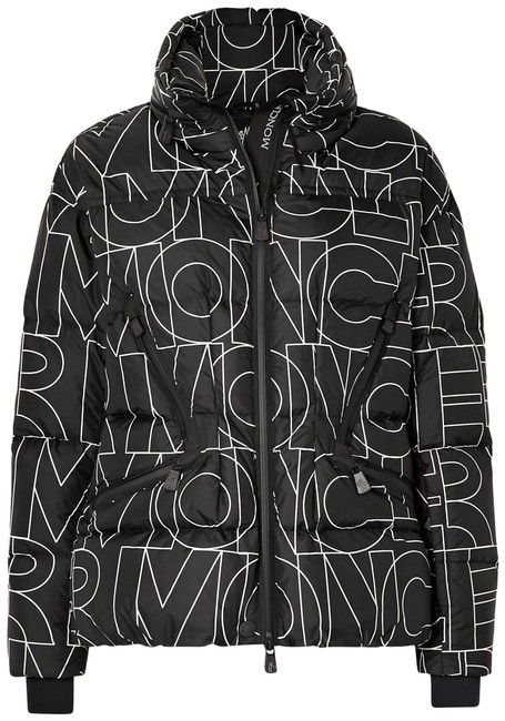 Item - Black Grenoble Dixence Printed Quilted Down Jacket Coat Size 0 (XS)