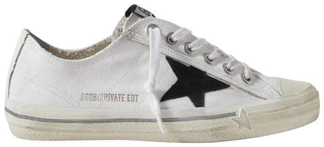 Item - White V-star Leather-trimmed Distressed Canvas Sneakers Size EU 37 (Approx. US 7) Regular (M, B)