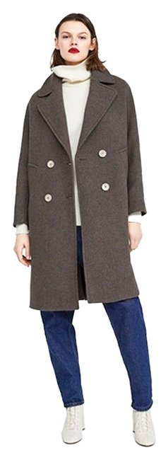 Item - Brown Mink Gray Manteco Wool Double Breasted Coat Size 12 (L)