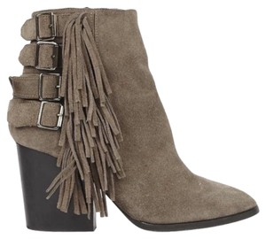 The Kooples Silver Hardware Suede Fringe Chunky Heel Taupe Boots