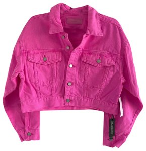 BlankNYC Cropped Collared Bright Button Closure Pink Womens Jean Jacket