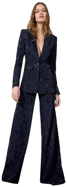 Item - Navy Wide Leg Donira Suit High Waisted Jacquard Bengal Pants Size 4 (S, 27)