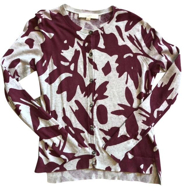 Item - Gray with Wine Abstract Print Cardigan Size 2 (XS)