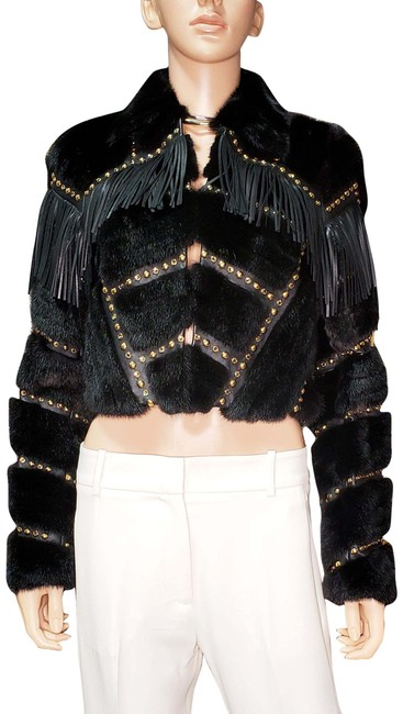 Item - Black/Brown L F/W14 L#19 Fur Jacket with Studs Crysal and Leather Fringe Poncho/Cape Size 2 (XS)