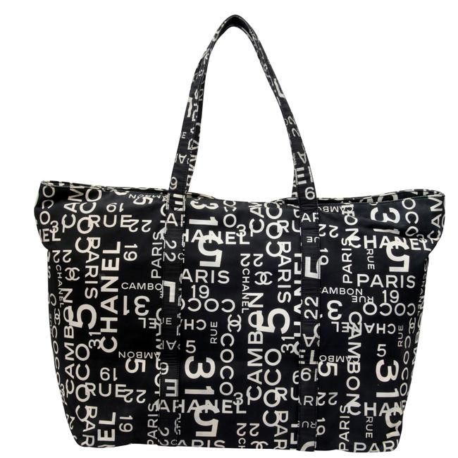Item - Tote Cambon 31 Rue Printed Beach Large Black White Canvas Weekend/Travel Bag