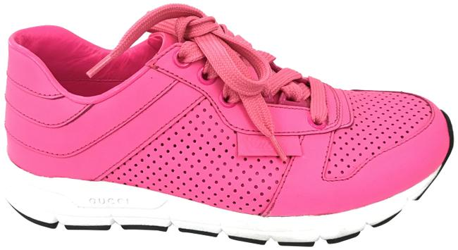 Item - Pink Neon Leather Sneakers Size EU 34 (Approx. US 4) Regular (M, B)