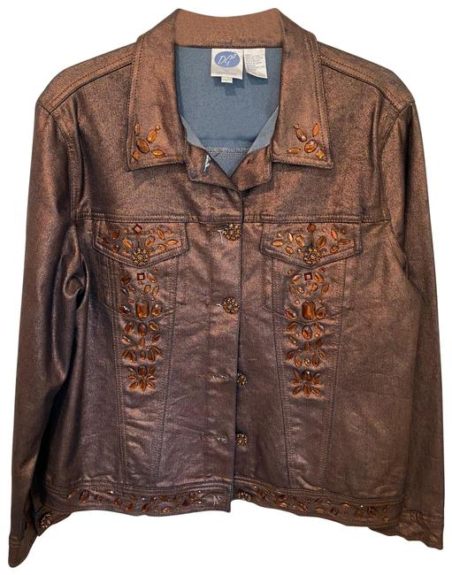 Item - Metallic Bronze and Amber With Colored Beads Jacket Size 14 (L)