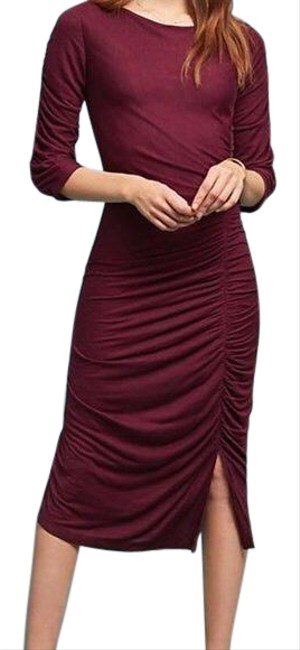 Item - Maroon Ranna Gill Ruched Mid-length Casual Maxi Dress Size Petite 8 (M)