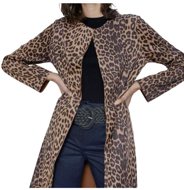 Item - Brown Animal Print Faux Suede Coat Size 4 (S)
