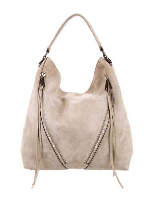 Item - Suede Moto Gray Leather Hobo Bag