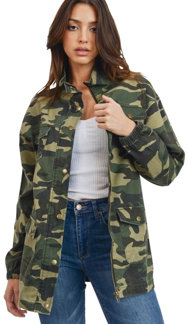 Item - Camouflage Twill Zip Up Jacket Size 14 (L)