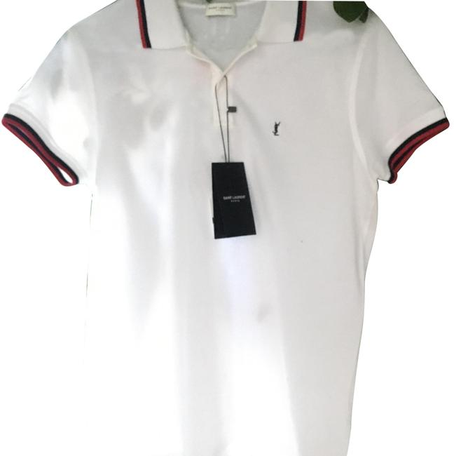 Item - White ( Black & Red Stripe) Yves Classic S Tee Shirt Size 4 (S)