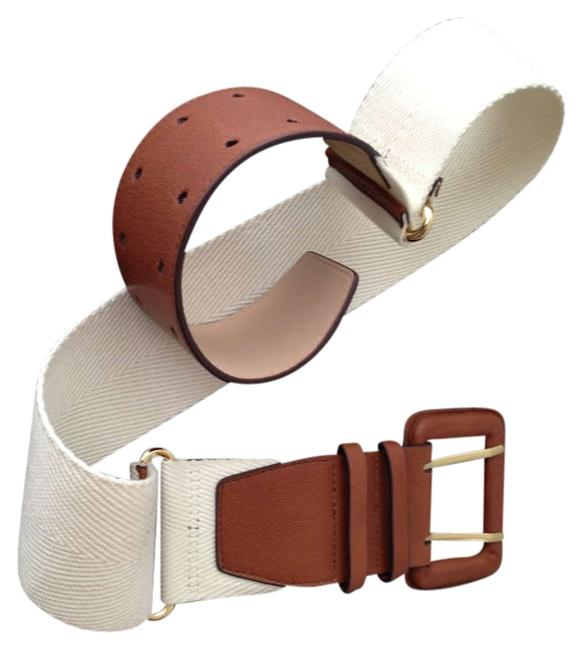 Item - Tan Leather and Ivory Canvas Nwt: Safari Inspired Wide Size Medium Belt