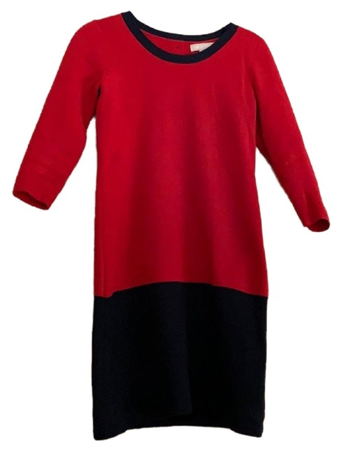 Item - Red Colorblock Sweater Mid-length Short Casual Dress Size Petite 0 (XXS)