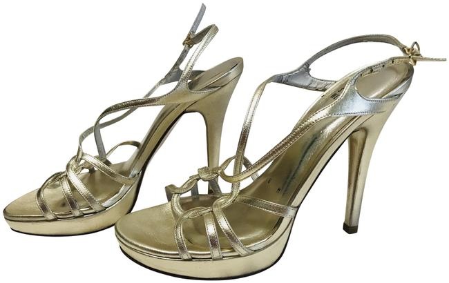 Item - Gold Platform Heel Formal Shoes Size US 8 Regular (M, B)