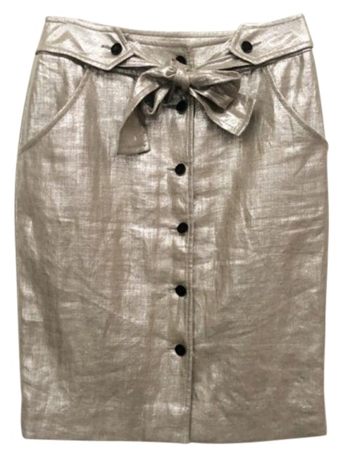 Item - Silver Gray Roma Tie Waist Button Skirt Size 2 (XS, 26)