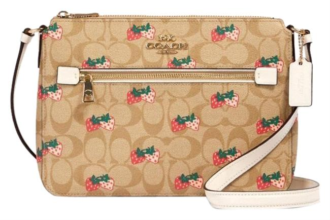 Item - File Gallery In Signature with Strawberry Beige Chalk Multi Coated Canvas Messenger Bag