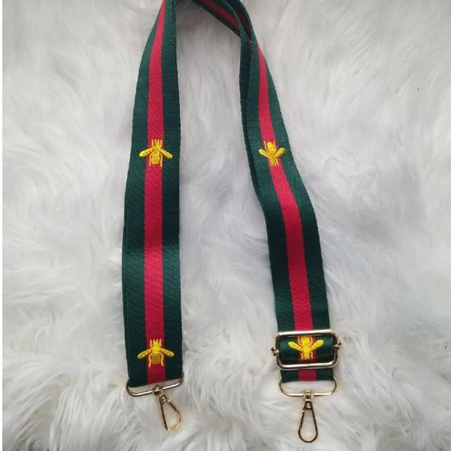 Unbranded Crossbody Red Green Striped Bee Strap Unbranded Crossbody Red Green Striped Bee Strap Image 1