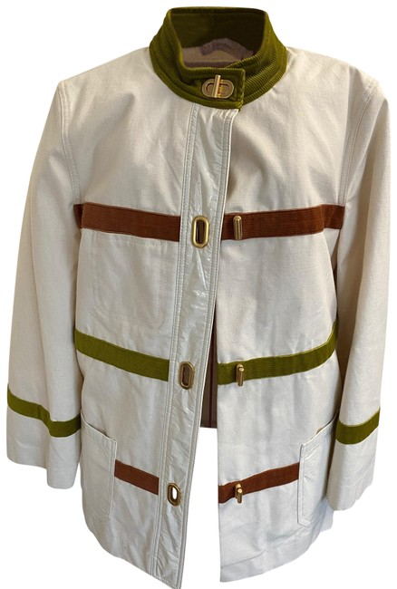 Item - White Caden Stripe Coat Size 6 (S)