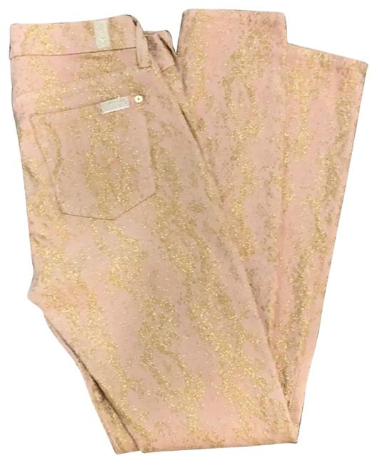 Item - Pink and Gold Glitter Skinny Jeans Size 0 (XS, 25)