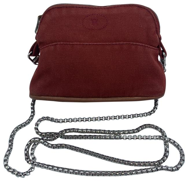 Item - Crossbody Trim Leather Red Canvas Hobo Bag