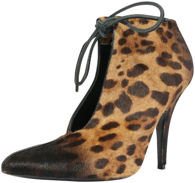 Item - Brown Leopard-print Ankle-tie 105mm Boots/Booties Size EU 38 (Approx. US 8) Regular (M, B)