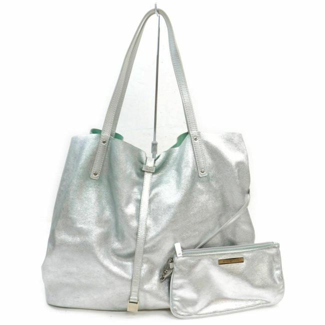 Item - Reversible Green with Pouch 857949 Silver Leather Tote
