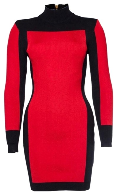 Item - Red Black Colorblock Mid-length Night Out Dress Size 2 (XS)