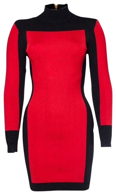 Item - Red Colorblock Long Sleeve Bodycon Mid-length Night Out Dress Size 2 (XS)