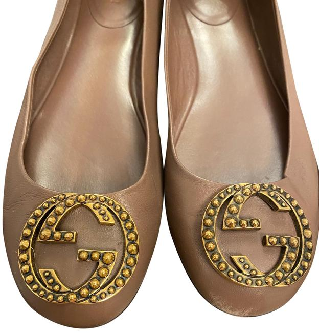 Item - Mauve and Gold Soft Leather Old Gg Flats Size US 8.5 Regular (M, B)