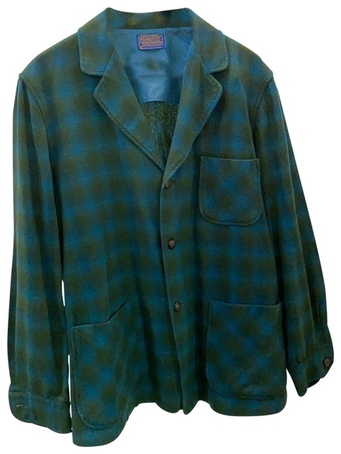 Item - Plaid Blue and Green Mint Condition Unlined Jacket Size 12 (L)