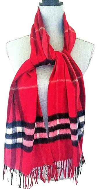 Item - Red Orange Giant House Check Women's Men's Cashmere Scarf/Wrap