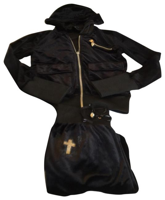 Item - Black Velour Track Suit Activewear Outerwear Size OS (one size)