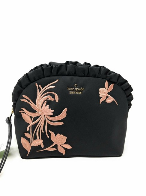 Small Marcy Dawn Place Ruffle Embroidered Black/Pink Polyester Clutch Small Marcy Dawn Place Ruffle Embroidered Black/Pink Polyester Clutch Image 1
