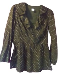 J. Crew Top olive green with white polka dots