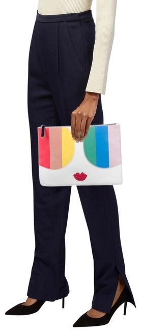 Alice + Olivia Rainbow Zip Pouch Off-white Leather Clutch Alice + Olivia Rainbow Zip Pouch Off-white Leather Clutch Image 1