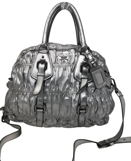 Item - Nappa Gaufre Bowler Argento Silver Leather Satchel